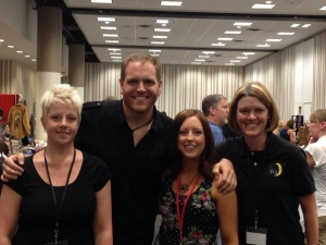 "Tammy, Stefanie, and Heather with Josh Gates, host of ""Destination Truth."""